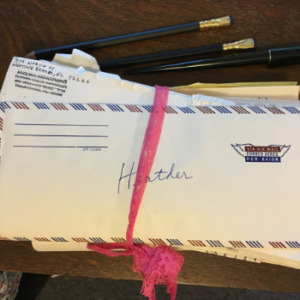 A bundle of letters addressed to Heather