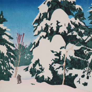 A woodblock of a snow-covered fir tree