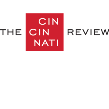 """The Cincinnati Review Logo: the word """"Cincinnati"""" is split into three rows on a red square."""