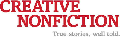 """The Creative Nonfiction logo: Red letters on a white background, with the tagline """"True stories, well told."""""""